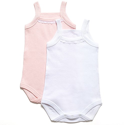 Amoureux Bebe Baby Girls 100% Cotton Onesies - Camisole 2 - pk. Super Soft Ribbed Bodysuits. ()