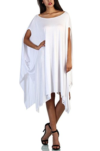 Asymmetrical Poncho - TINYHI Womens Flared Solid Knit Poncho Shoulder Sleeves Tunic Top White OS