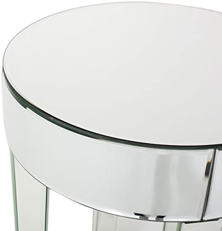 Christopher Knight Home Alvo Contemporary Mirrored Round Table, Clear