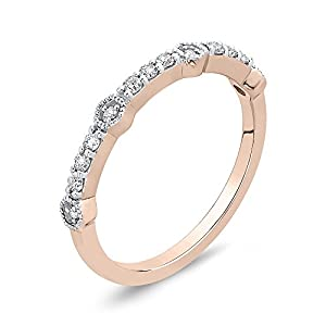 Diamond Fashion Ring in 14K Rose Gold (1/6 cttw, Colour IJ, Clarity I1) (Size-9)
