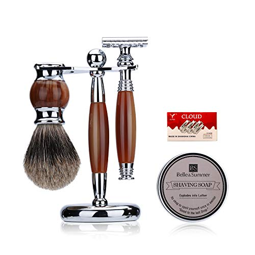 JOLI Shaving Gift Kit - Pure Badger Hair Shaving Brush,Double Edge Safety Razor, Wood Grain Resin Stainless Stand,10 Replacement Blades,Nature Shaving Soap,Men's Shaving Pal