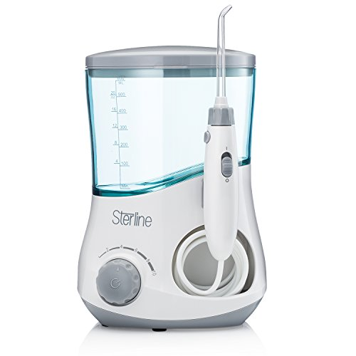 Sterline Counter Top Water Flosser with Six Interchangeable Nozzles, Dental Irrigator with 10 Water Pressure Settings, and a 600ml Capacity