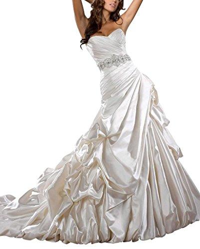 GEORGE BRIDE Satin Pick-up-Kapelle Zug Brautkleider Hochzeitskleider mit Perlen Taille Weiß aaacPUI1