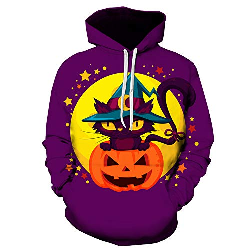 DEATU Mens Autumn Sweatershirt Sale, Clearance Halloween Grimace/Pumpkin Printing Long Sleeve Pullover Hoodie Tops(Purple ,M)