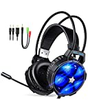 2018 EasySMX Gaming Headset for PS4, PC, Xbox One Slim, Cool 2000 Over Ear Stereo Gaming Headphone with Noise Cancelling Mic, Multi LED Light for Computer Laptop Nintendo Switch