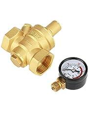 Válvula reductora de presión - Regulador de presión Válvula de alivio de latón DN25 Latón Regulador reductor de presión de agua ajustable Reductor + medidor de indicador