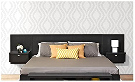valhalla designer king platform floating king bed headboard with integrated nightstands new set king for