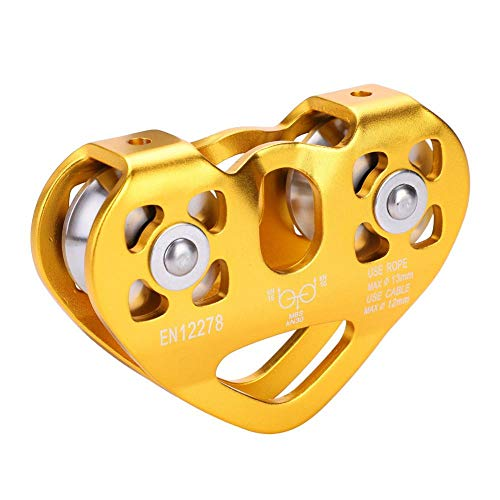 Alomejor Climbing Pulley 30KN Outdoor Rock Climbing Double Axis Dual Pulley Cable Trolley Heart Shaped Tandem Pulley for Outdoor Climbing(Gold() ()