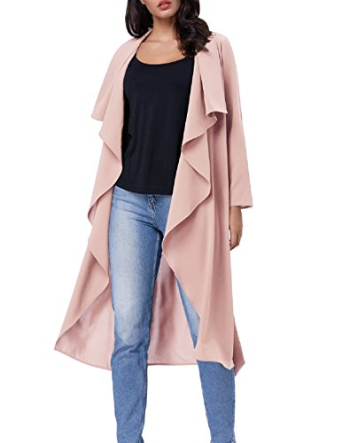 adies Trench Coat Tie Waist with Lapel Collar(M Light Pink) (Collar Trench Coat)
