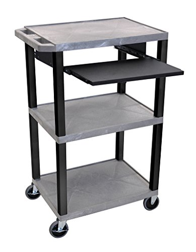 H WILSON WTPS42GYE-B Rollable Audio Visual Presentation Cart with 3 Open Shelves and Keyboard with Mouse Pad Extender Tray, Gray and ()