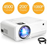 Projector, APEMAN 4500 Lumen 1080P Supported 200' Display 50000 Hrs LED, Dual Built-in Speakers Mini Portable Projector, Compatible with HDMI,USB,VGA,TF,Laptop,TV Stick,Smartphone,DVD for Home Cinema