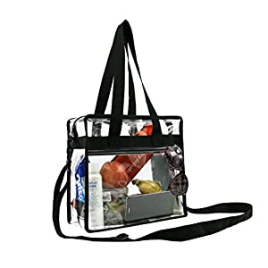 "Clear Cross-Body Messenger Shoulder Zippered Bag w Adjustable Strap, NFL & PGA Stadium Security Approved Travel & Gym Clear Tote Bag-12"" X 12"" X 6"""