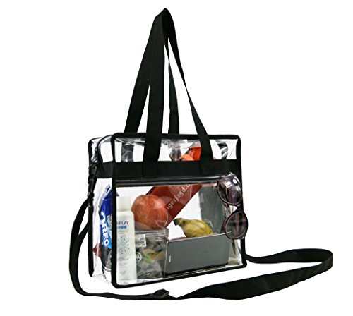 "Clear Cross-Body Messenger Shoulder Zippered Bag w Adjustable Strap, NFL & PGA Stadium Security Approved Travel & Gym Clear Tote Bag-12"" X 12"" X - W Big Baby Sunglasses"