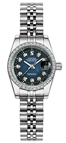 Mastop Women's Diamond-Accented Bezel Blue Dial Silver Band l Automatic Mechanical Watch