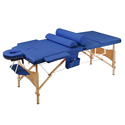 Henf Portable Folding Massage Table 73 Inch Professional 3-Fold Massage Bed with Carry Case Wooden Frame Salon Facial Spa Lash Bed Tattoo Chair W/Head & Arm – Blue