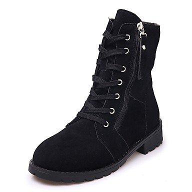 Boots UK4 5 For Light Combat 7 Women'S Black Fall Brown Lace Boots Heel RTRY Toe Winter 5 US6 EU37 Calf CN37 5 Mid Shoes Pu Low Up Casual Boots Round T0cqyApFy