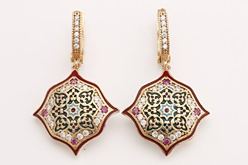 Motif Style Turkish Handmade All Authentic Jewelry Red Enamel Round Cut Ruby Topaz 925 Sterling Silver Dangle/Drop Earrings