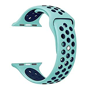 Watch Band for Apple,Sport Replacement Strap for Apple iWatch with Ventilation Holes, Series 3/2/1 With Soft Silicone Material