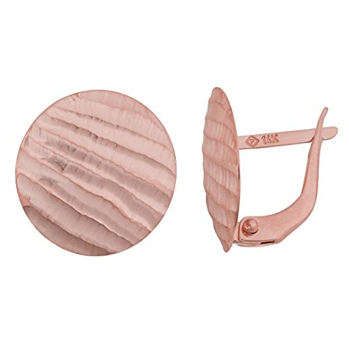 14k Rose Gold Ribbed Satin Disc Omega Back Earrings