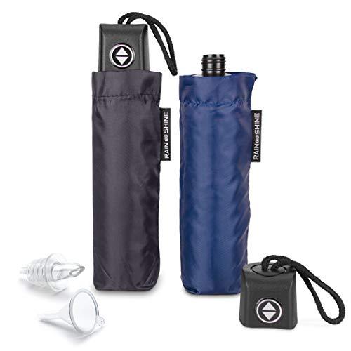 GoPong Rain or Shine Umbrella Flask 2 Pack | Hidden Alcohol Booze Bottles | Includes Funnel and Liquor Bottle Pour Spout