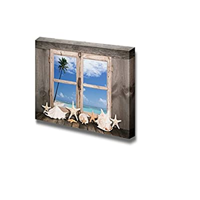 Canvas Prints Wall Art - Summer Holidays on The White Sand Beach - Sea View to One Palm Tree - 24