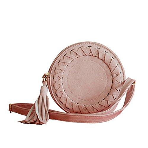 BISOZER-Women's clothing Bisozer Cute Femme Mode Mini Rond Tassel bourses en Cuir Petit Sac à Main bandoulière avec bandoulière rose