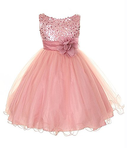- Sequin & Tulle Special Occasion Holiday Dress - Dusty Rose Baby S (3-6 Month)