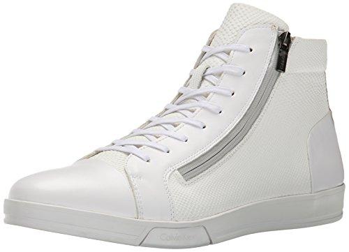 Calvin Klein Men's Berke Emboss Leather Fashion Sneaker, White, 10.5 M US by Calvin Klein