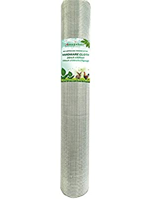 1/4in Hardware Cloth 24x50 Square Chicken Wire Hot Galvanized Gopher Wire Welded Mesh Roll 23gauge Snake Fencing Material Rabbit Raccoon Moles Rodents Animal Control for Vegetable Garden Raised Beds by Amagabeli