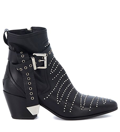 Mexicana Womens Black Leather Texan Ankle Boots With Studs and Ankle Strap Black CgVMkJz