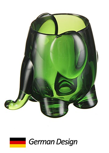 (German Design) Felli - Jimbo Pencil Holder / Pen Holder. Elephant shape, also suitable for makeup tools. Great gift for any desk at home or office. (green)
