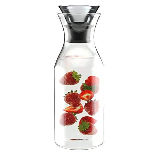 1L Antigoteo Decantador de Agua de Borosilicato con Tapa de Cristal - Jarra para bebidas frías y calientes - Zumo de jarra de té helado - Verter ...