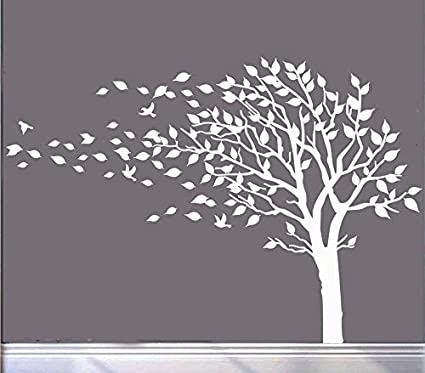 Large Tree Blowing in The Wind Tree Wall Decals Wall Sticker Vinyl Art Kids  Rooms Teen 991f42463