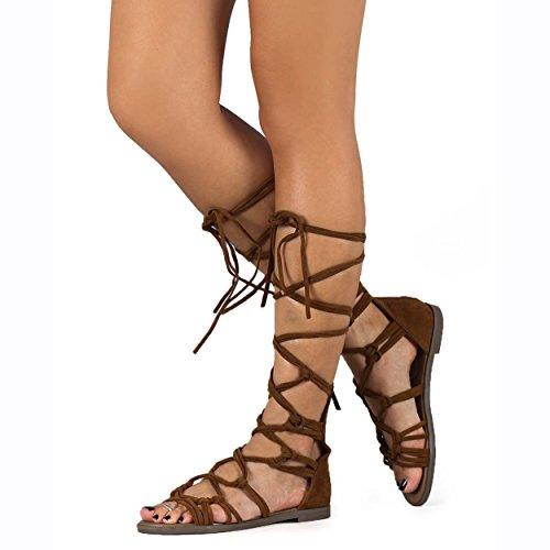 Breckelles Dg23 Kvinner Suede Knyttede Peep Toe Snøring Vikle Gladiator Flat Sandal, Tan, 5.5