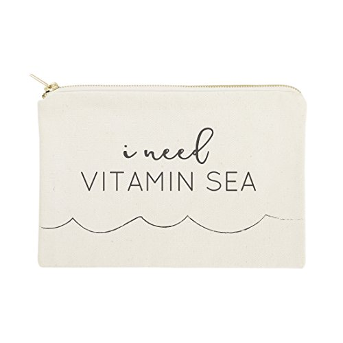 The Cotton & Canvas Co. I Need Vitamin Sea Beach Cosmetic Bag and Travel Make Up Pouch
