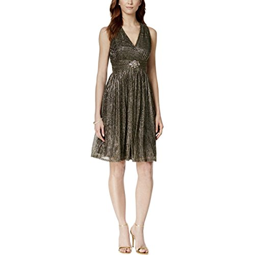 Jessica Howard Womens Metallic Beaded Cocktail Dress Gold 16