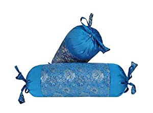 Indian Brocade Silk Neck Roll Cover Cylinder Round Bolster Turquoise Pillow Cover Set