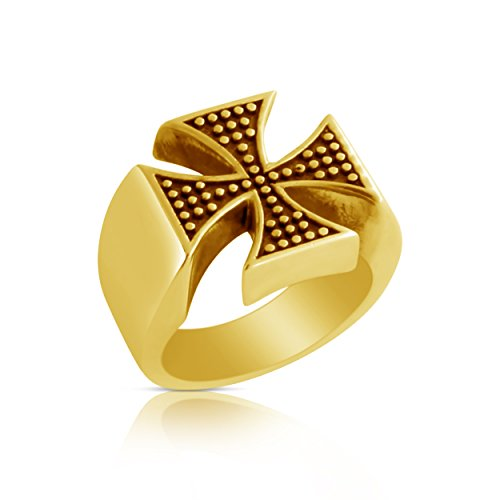 St George Ring (Azaggi Gold Plated Sterling SIlver Handcrafted Two - Toned st. George's Cross Ring (11))