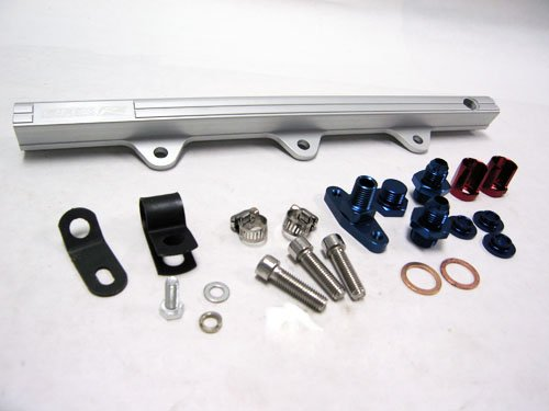 Oversized Injector - OBX Silver Fuel Injection Rail for 94-97 Mazda Miata 1.8L BP-ZE (for Oversized Injectors)