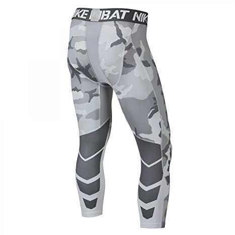Nike Pro Combat Hypercool Compression Woodland 3/4 Training Tights (Large, Anthracite Grey/Cool Grey Woodland Camo)