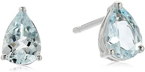 Sterling Silver Pear Shape January Birth Stone Stud Earrings
