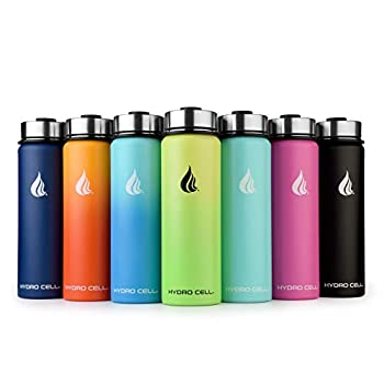 HYDRO CELL Stainless Steel Water Bottle W/ Straw & Wide Mouth Lids (40oz 32oz 24oz 18oz) - Keeps Liquids Hot Or Cold With Double Wall Vacuum Insulated Sweat Proof Sport Design (Neon/Neon 24oz)