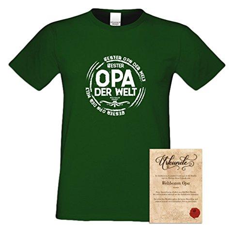 Großvater Fun-T-shirt als Top Geschenk mit GRATIS Urkunde - Bester Opa der Welt Farbe: braun Gr: 5XL
