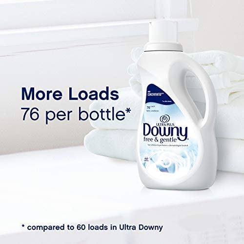 41V0 43hX2L. AC - Downy Ultra Plus Free & Gentle Liquid Fabric Conditioner (Fabric Softener), Concentrated, 51 Oz Bottles, 2 Pack, 152 Loads Total