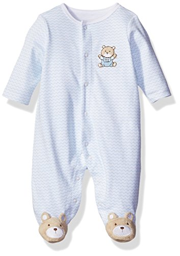 Little Me Baby Chevron Bear Footie, Light Blue, New Born -