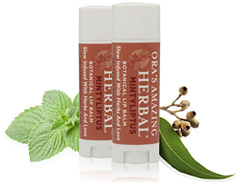 Natural Lip Balm Peppermint Eucalyptus Essential Oils Paraben Free, Healthy Lip Balm for Dry Cracked Lips 2 Pak with Organic Coconut Oil No Synthetic Fragrance Made in USA Oras Amazing Herbal ...