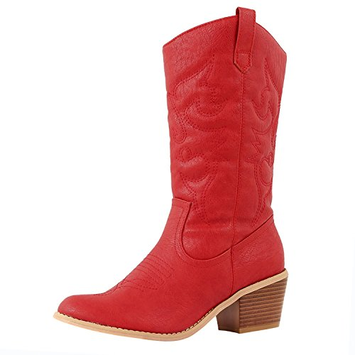 Las Últimas Hot Fashion Mid Calf Mujeres Dev-1 Cow Boy Western Slauchy Casual Chunky Tacón Bota Zapatos Red Miami