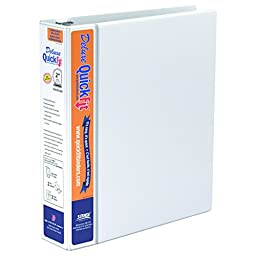 QuickFit 2 Inch Deluxe Binder, Double-Hinged, D-Ring, White (89030)
