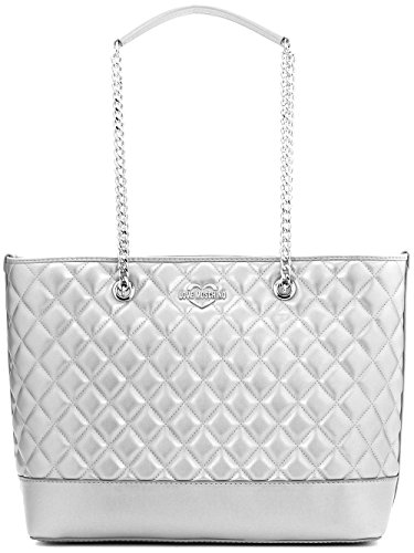LOVE MOSCHINO Diamond Quilted Logo Shoulder Tote Bag, Silver (Denim And Diamonds Outfit Ideas)