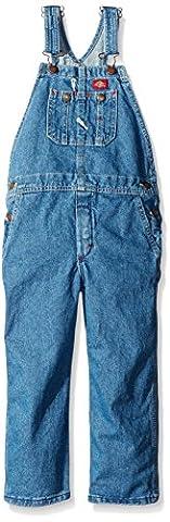Dickies Little Boys' Denim Bib Overall - Preschool, Stone Washed Indigo Blue, Large/7 - Fly Bib Overalls